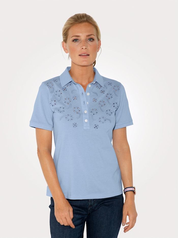 MONA Polo shirt in pure cotton, Light Blue