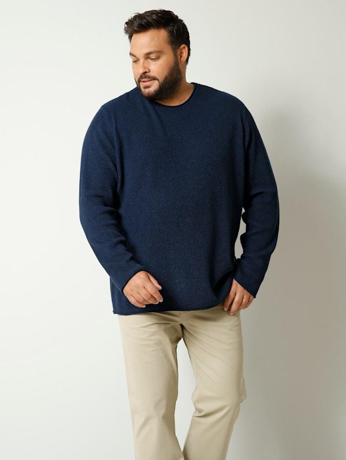 Men Plus Pullover aus reiner Baumwolle, Marineblau