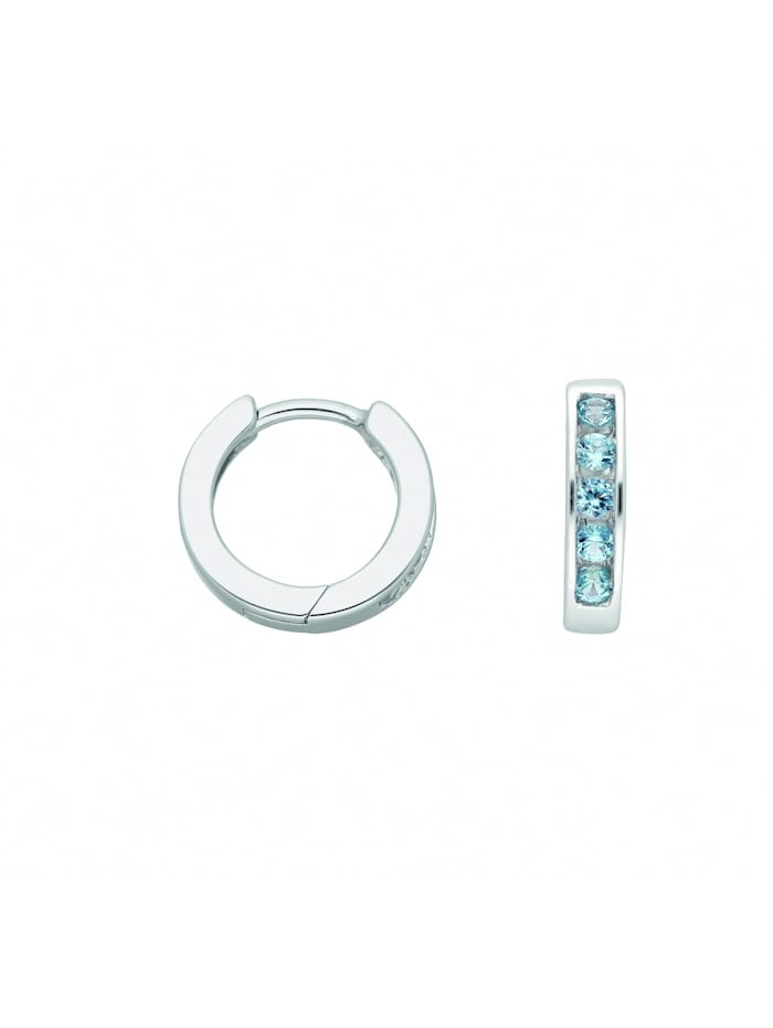 1001 Diamonds Damen Silberschmuck 925 Silber Ohrringe / Creolen mit Zirkonia Ø 12,3 mm, bunt