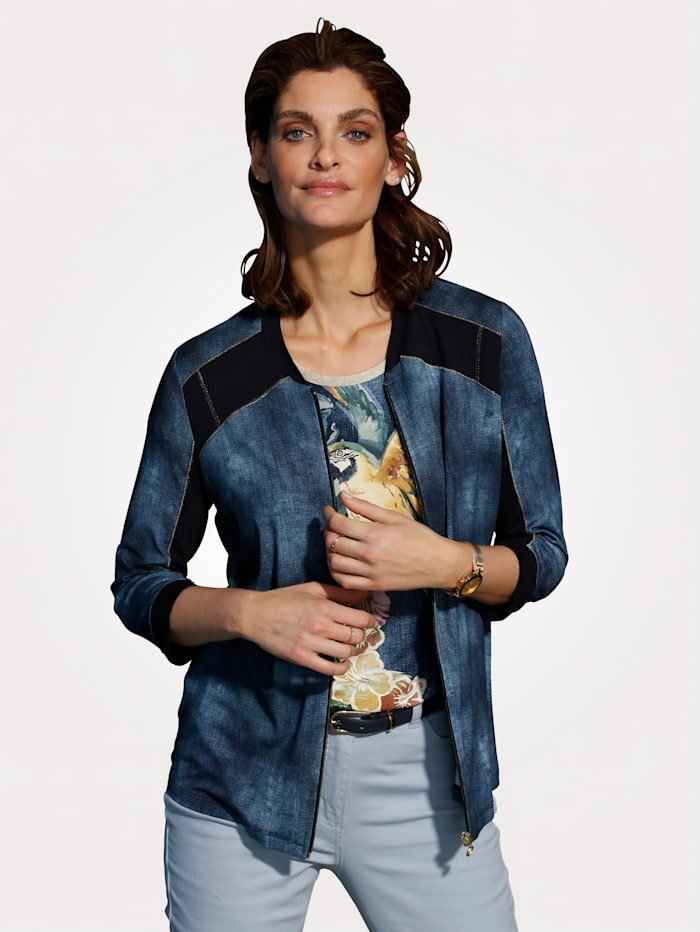 MONA Jacket made from a chic denim-effect fabric, Smoke Blue/Navy