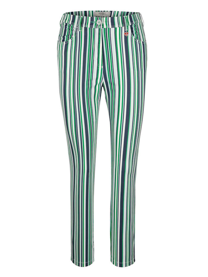 Relaxed by Toni Trousers in a striped design, Green/Navy/White