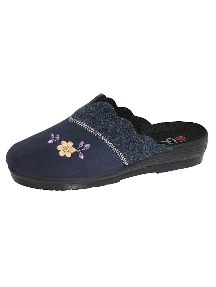 Belafit Chaussons à charmante application florale, Bleu foncé