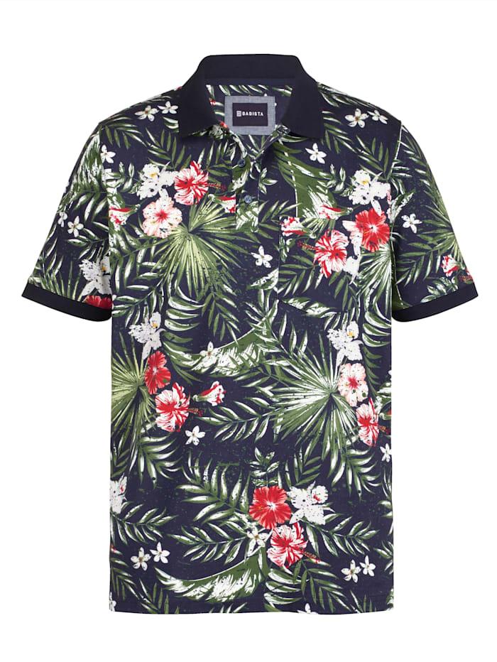 BABISTA Poloshirt mit floralem Druckmuster, Blau/Grün