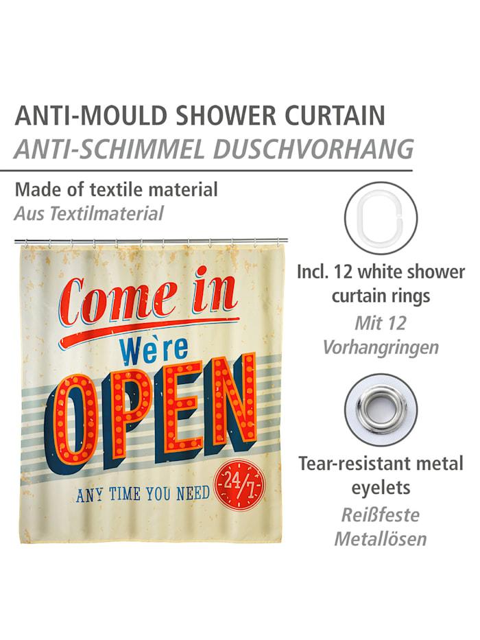 Anti-Schimmel Duschvorhang Vintage Open, Textil (Polyester), 180 x 200 cm, waschbar