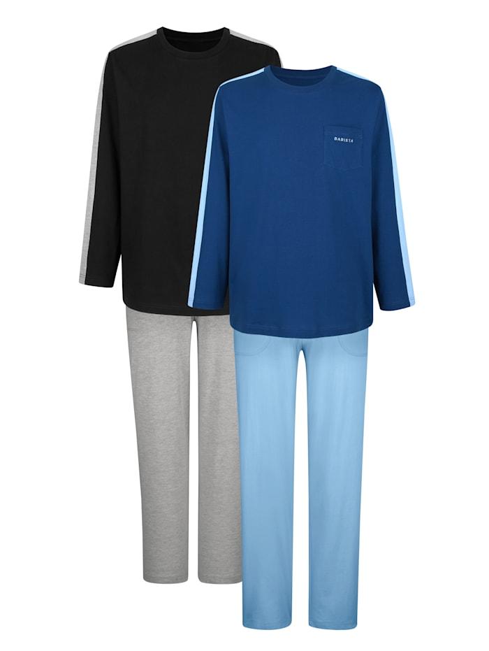 BABISTA Pyjamas i 2-pack i bomull från Cotton made in Africa-programmet, Svart/Blå