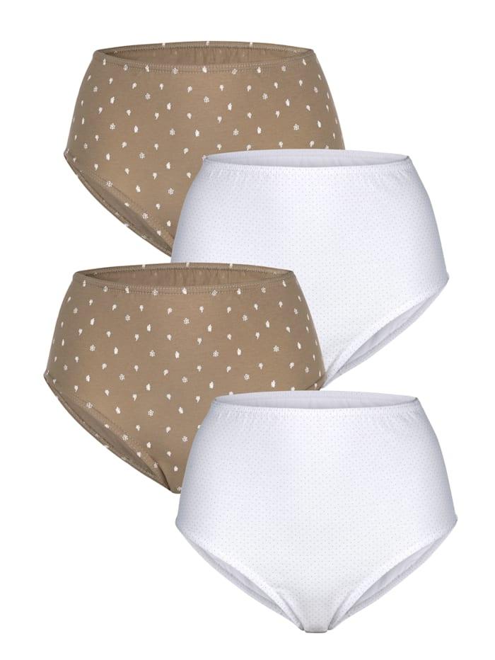 Harmony Taillenslips im 4er-Pack, Sand/Weiß