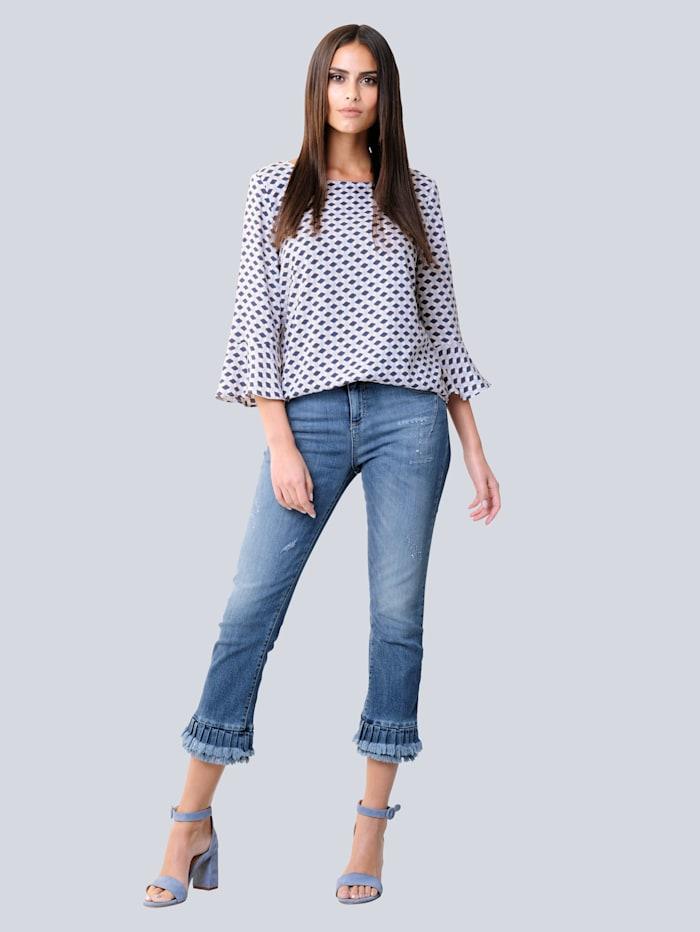 Jeans mit modischem Volant am Saum