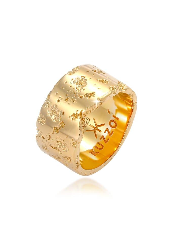 Kuzzoi Ring Herren Bandring Rustikal Robuster Look  925 Silber, Gold