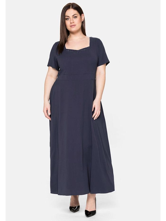 Sheego Abendkleid mit Schmucksteinen, nachtblau