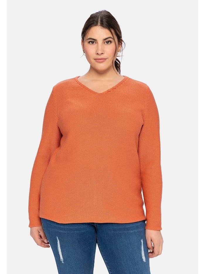 Sheego Pullover aus reiner Baumwolle, kupferfarben