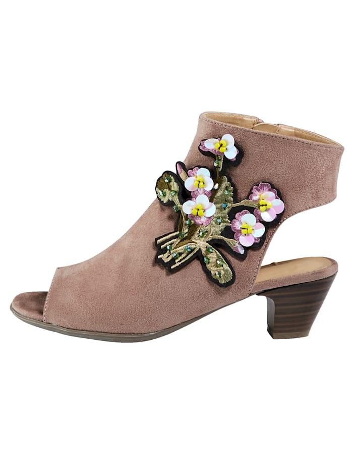 Sandale mit Blütenapplikation und Zierpailletten