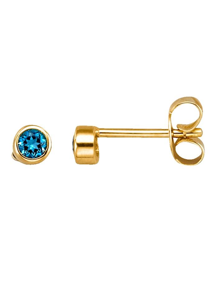 Yvette Ries Boucles d'oreilles avec topazes bleues, Bleu