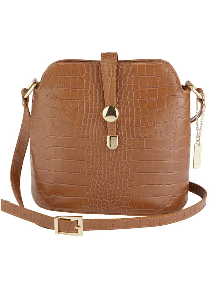 MONA Shoulder bag made from embossed leather, Cognac