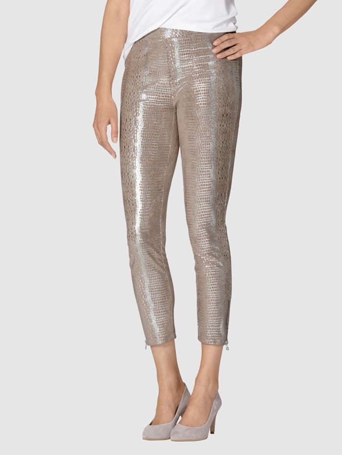 AMY VERMONT Leggings mit Foliendruck in Animal-Optik, Taupe