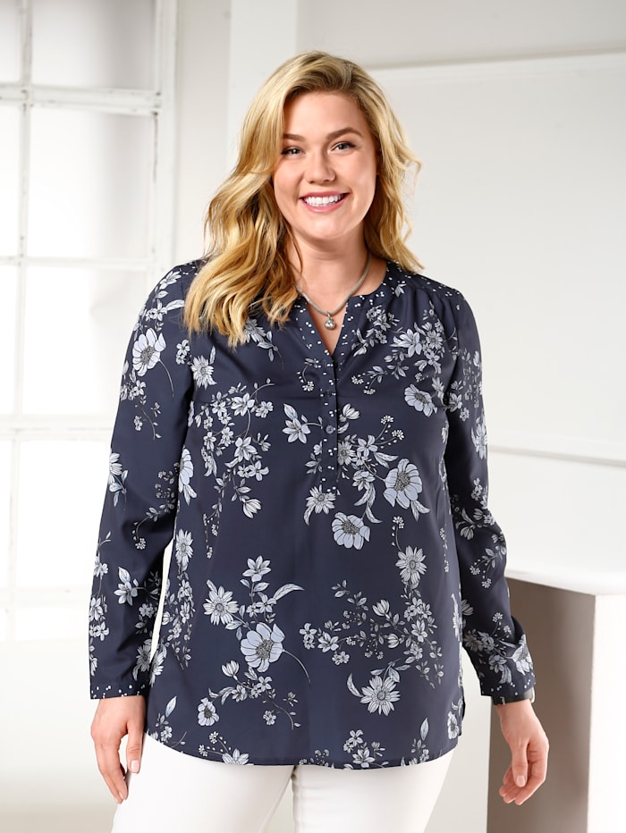 m. collection Blus med blommigt mönster, Marinblå