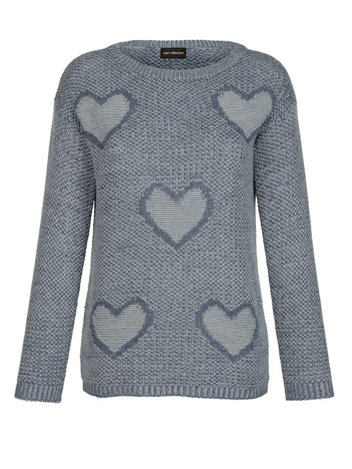 Pullover mit gestrickten Herzmotiven