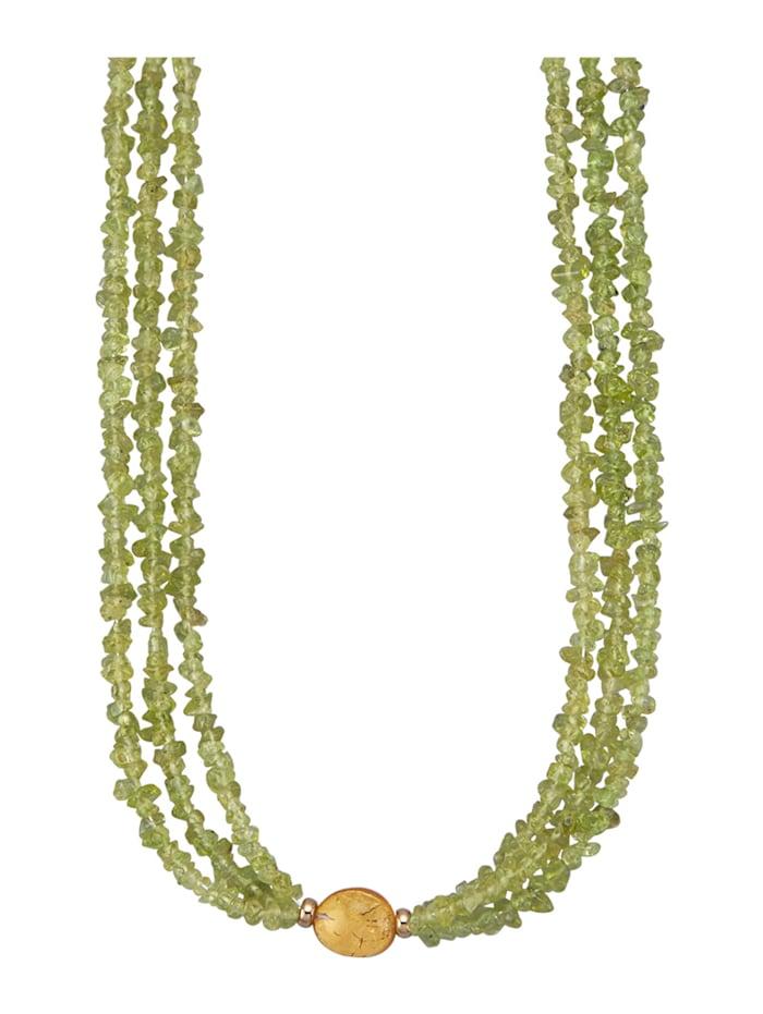 Amara Pierres colorées Collier 3 rangs en or jaune 585, Vert