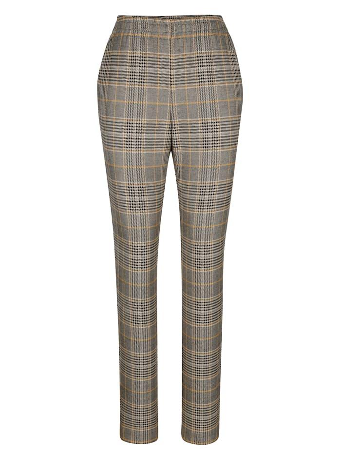Pantalon facile à enfiler à motif à carreaux tissé-teint