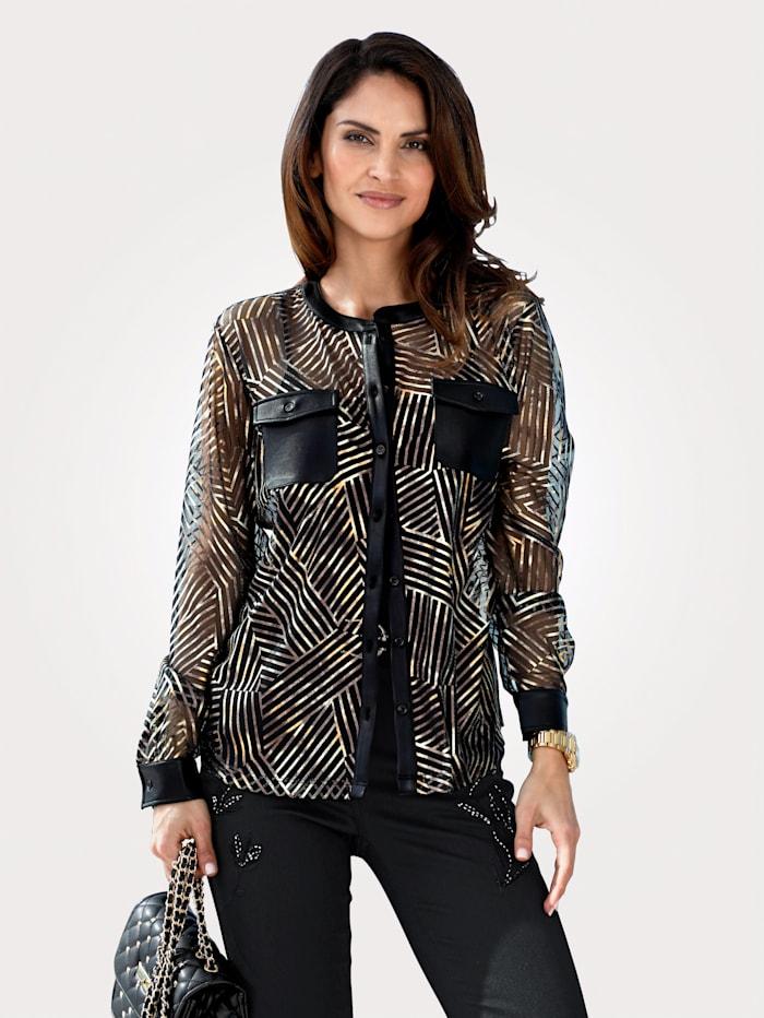 MONA Bluse in Ausbrenner-Qualität, Schwarz/Goldfarben