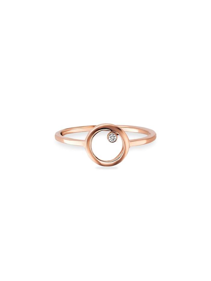 CAI Ring 925/- Sterling Silber Zirkonia weiß rotvergoldet 925/- Sterling Silber, rot