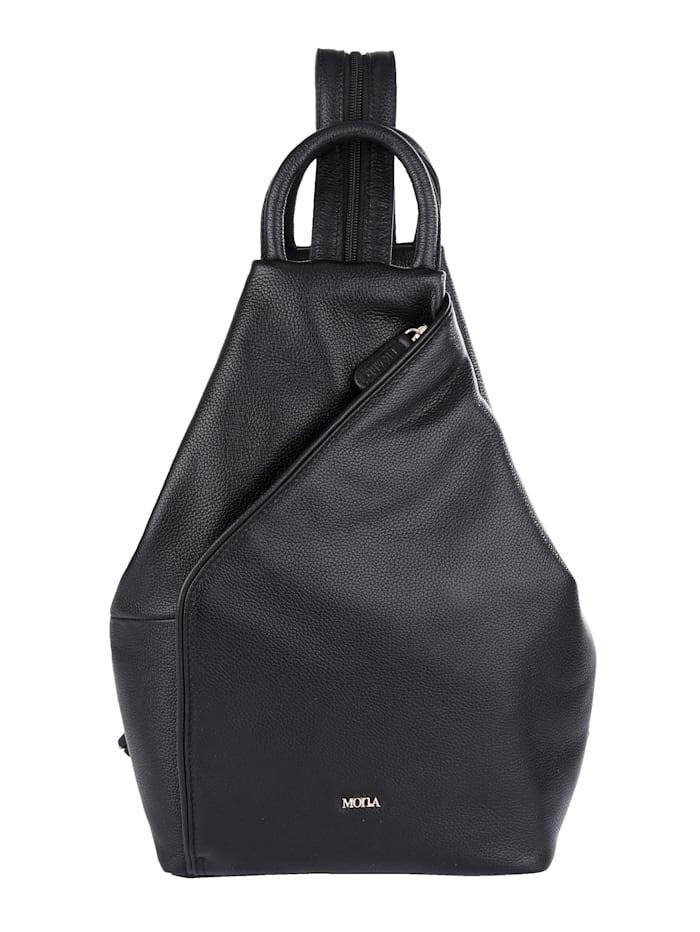 MONA Rucksack aus hochwertigem Rindsnappaleder, schwarz