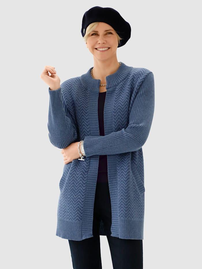 MONA Vest met grafisch jacquardpatroon, Rookblauw/Marine