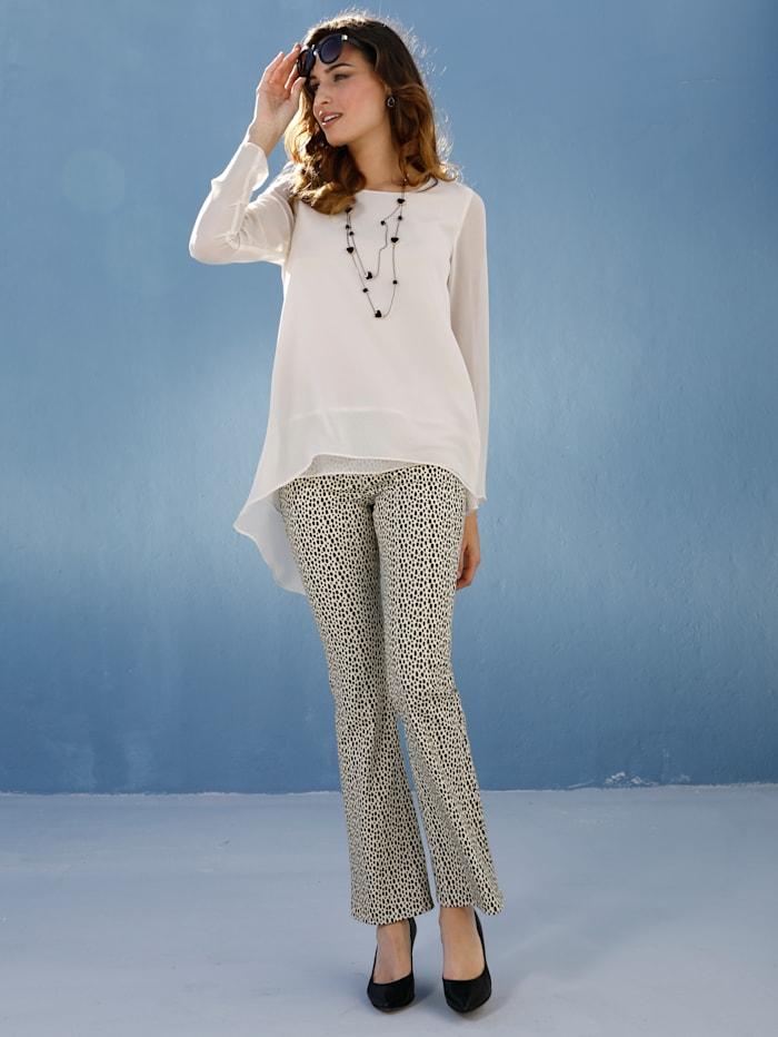 AMY VERMONT Jeans med grafisk prikkemønster, Beige/Black
