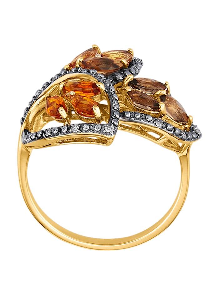 Blatt-Ring mit Farbsteinen und braunen Diamanten