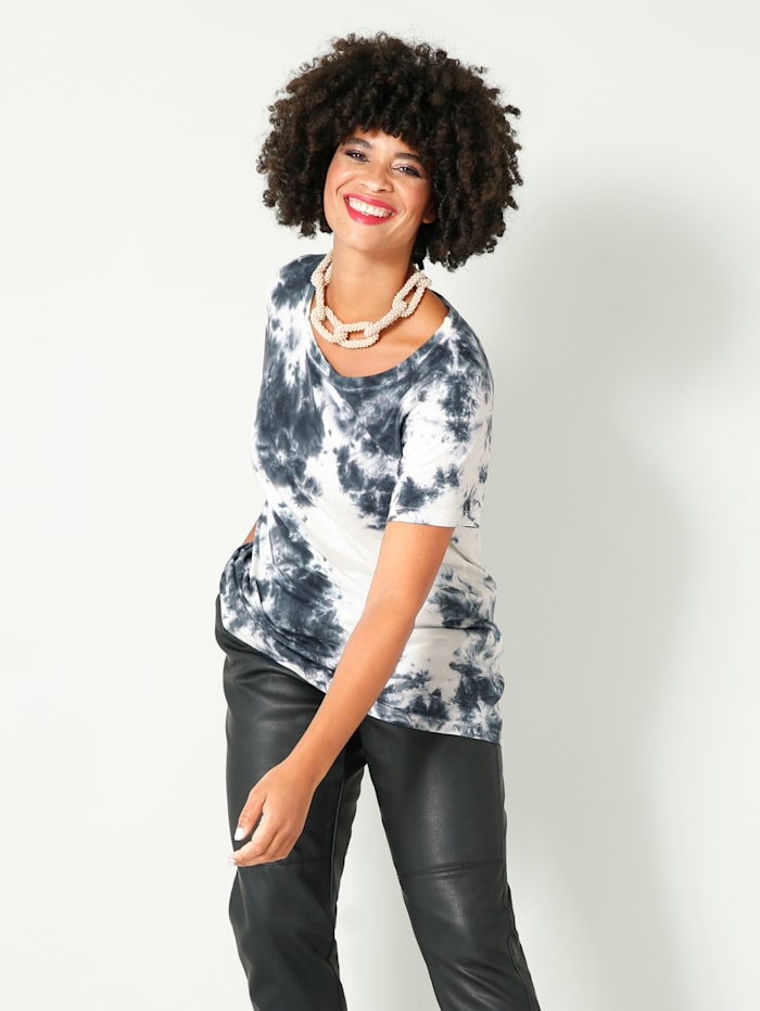 Angel of Style Shirt aus weicher Baumwollmischung, schwarz-weiß