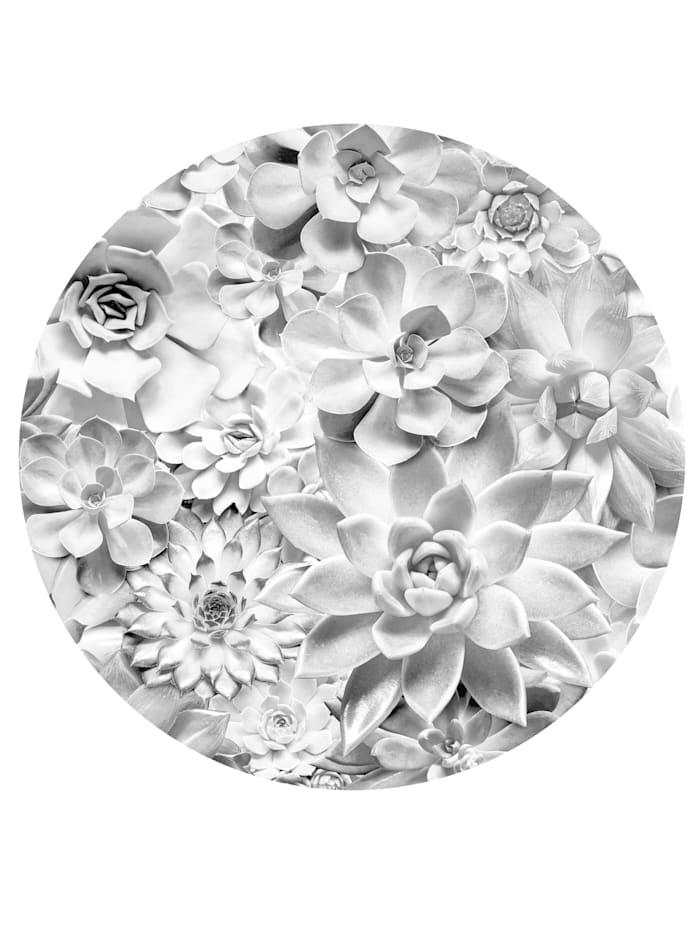 Komar Runde Fototapete, Blumen, schwarz/weiß