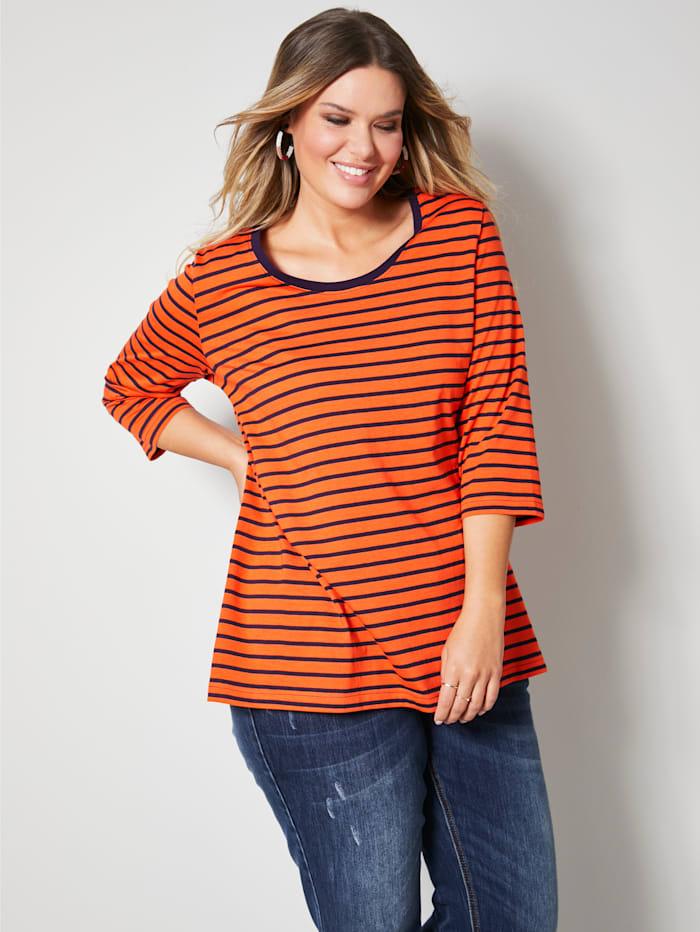 Janet & Joyce Shirt mit einfarbig abgesetztem Ausschnitt, Marineblau/Orange
