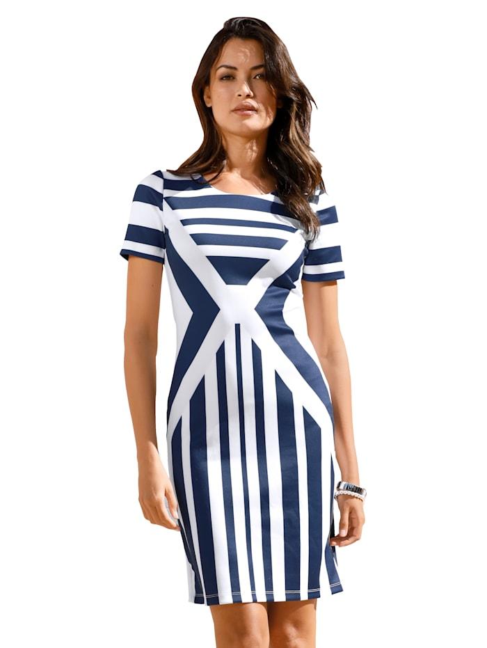 AMY VERMONT Džersej šaty s prúžkovaným dizajnom, Modrá/Biela
