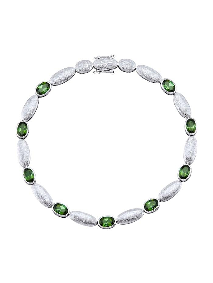 Amara Platine Bracelet avec tourmalines vertes, Vert