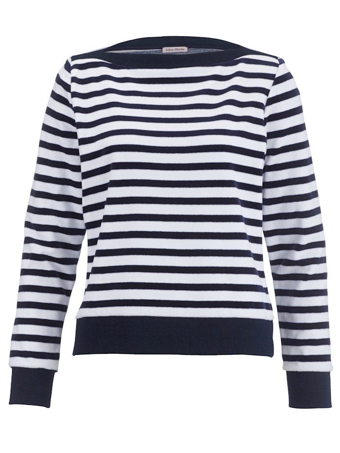Alba Moda Shirt met strependessin, marine/wit