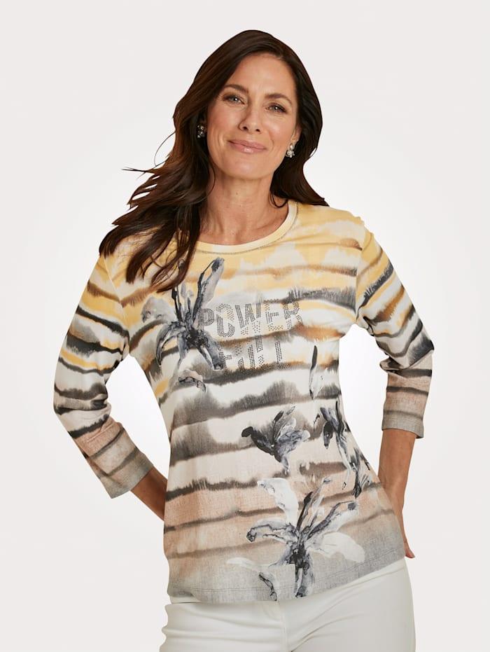 Rabe T-shirt avec strass fantaisie, Taupe/Jaune