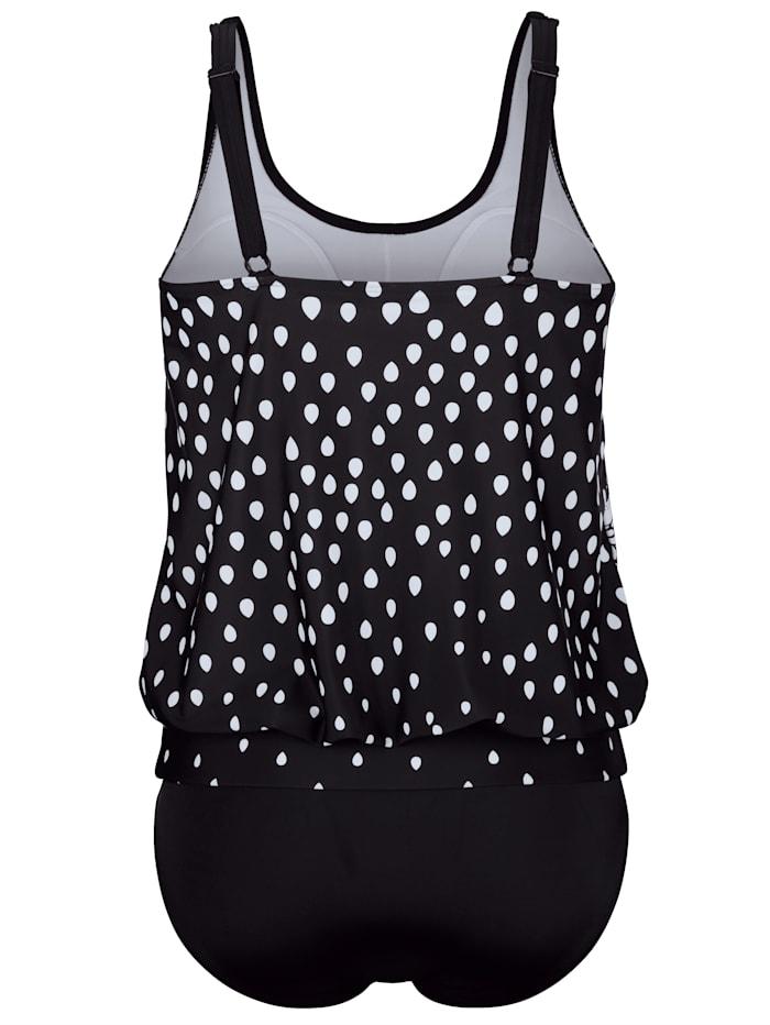 Tankini in trendy zwart-wit design