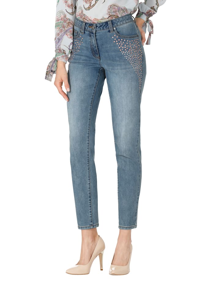 AMY VERMONT Jeans met strassteentjes, Blue bleached