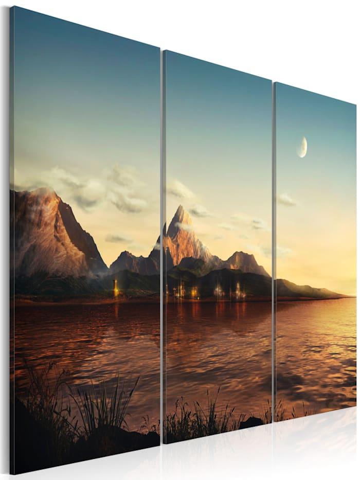 artgeist Wandbild Warm Abend in den Bergen, Beige,Braun,Himmelblau