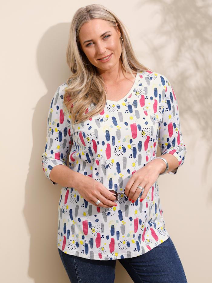 MIAMODA Shirt mit streckendem V-Ausschnitt, Off-white/Multicolor