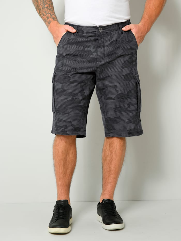 Men Plus Cargo-Bermuda Regular Fit, Grau/Schwarz