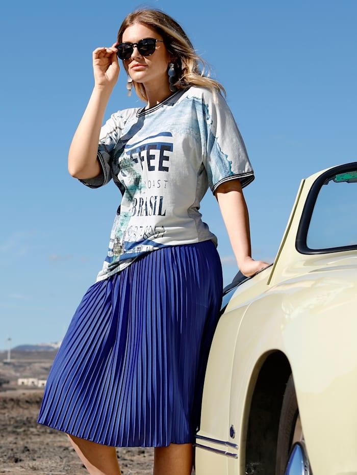 Sara Lindholm Shirt met mix van dessins, Grijs/Blauw