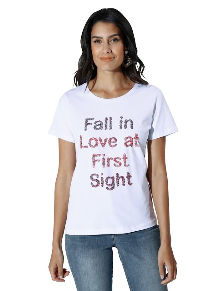 Cream Shirt met opschrift voor, Wit/Rood