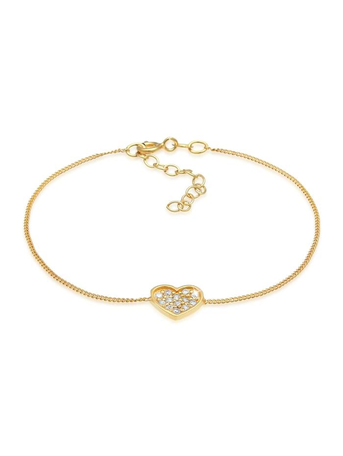 Elli Armband Herz Zirkonia Valentin Romantik 925 Silber, Gold
