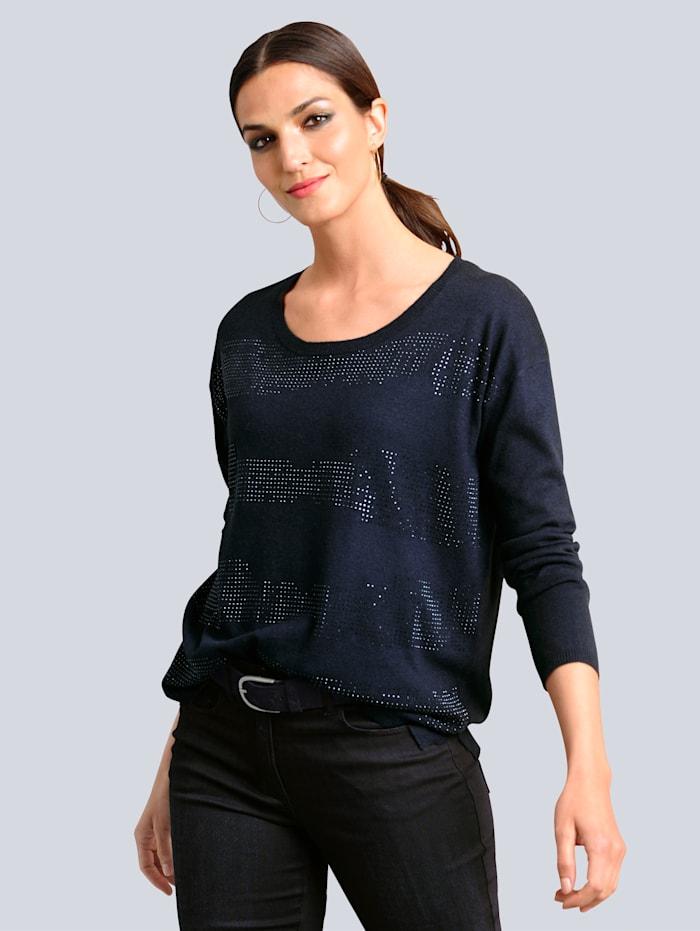 Alba Moda Pullover mit tonigen Strass-Steinchen verarbeitet, Marineblau