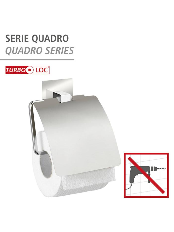 Turbo-Loc® Edelstahl Toilettenpapierhalter mit Deckel Quadro, rostfrei, Befestigen ohne bohren