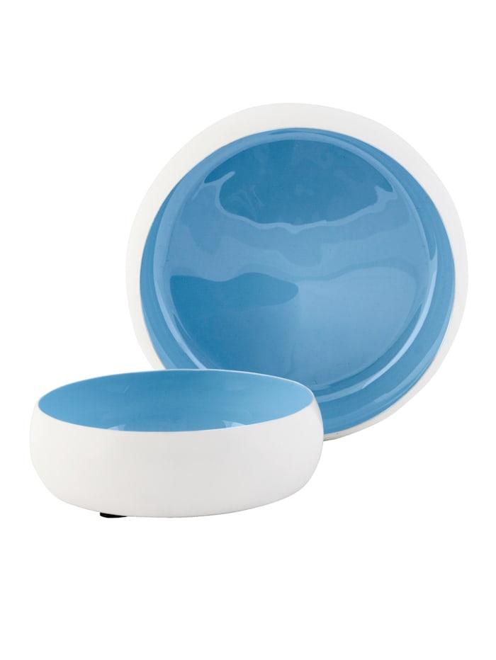 IMPRESSIONEN living Lot de 2 bols, Blanc/bleu clair/gris