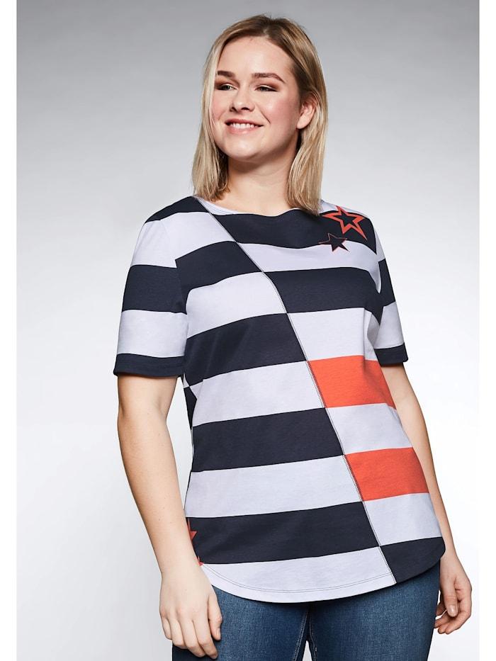 Sheego Sheego Shirt mit Sternendruck und Blockstreifen, marine-weiß