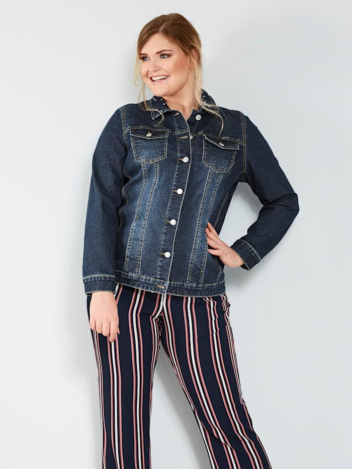 MIAMODA Jeansjacke mit dekorativen Nieten am Kragen, Dark blue