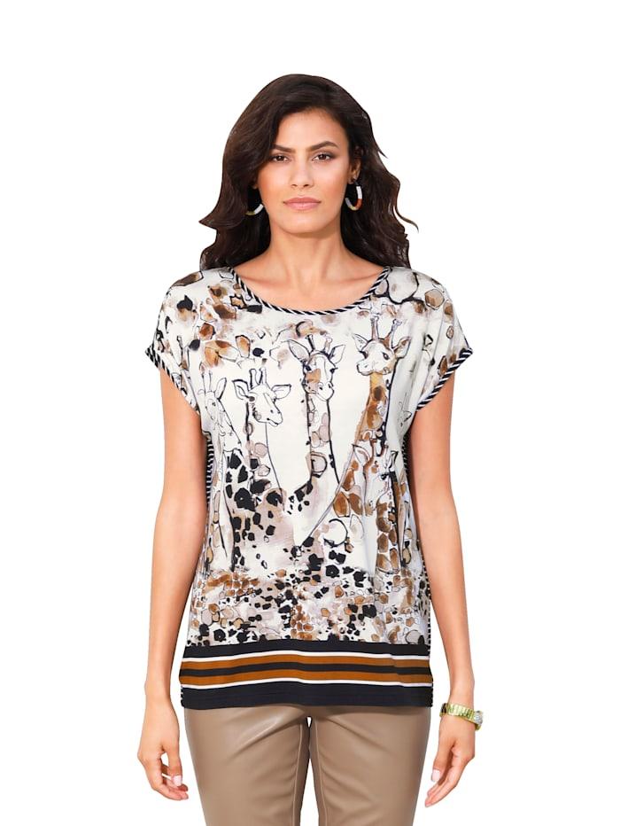 AMY VERMONT T-shirt à imprimé fantaisie, Blanc/Beige/Noir