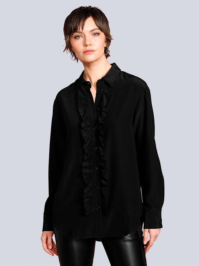 Seidensticker Schwarze Rose Bluse mit Rüschen, Schwarz
